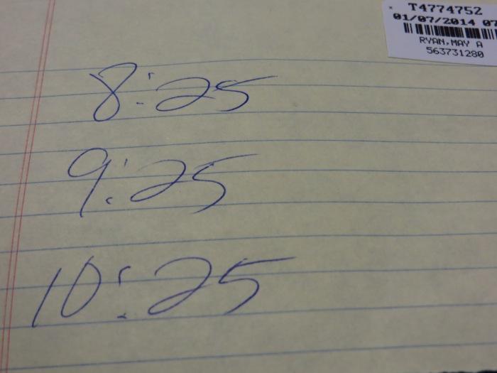 A schedule!